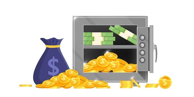Geöffnete bank safe box vektor-illustration mit geldsack, dollarnoten, goldenen münzen, sicheres schloss isoliert auf weiß.