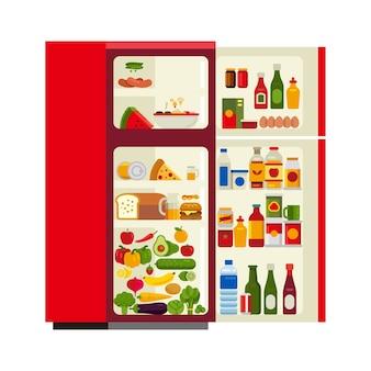 Geöffnete flache artvektorillustration des kühlschranks