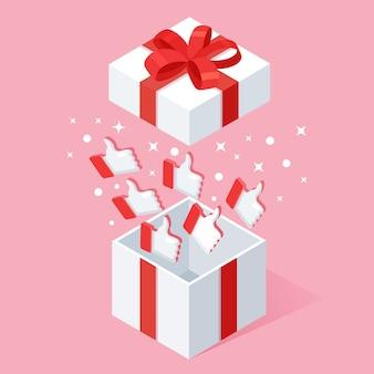 Geöffnete geschenkbox mit daumen hoch auf rosa hintergrund. isometrisches paket, überraschung mit konfetti. testimonials, feedback, kundenbewertung.