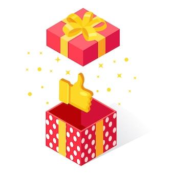 Geöffnete geschenkbox mit daumen hoch auf weißem hintergrund. isometrisches paket, überraschung mit konfetti. testimonials, feedback, kundenbewertung.