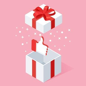 Geöffnete geschenkbox mit daumen hoch lokalisiert auf weißem hintergrund.