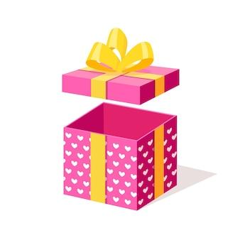 Geöffnete geschenkbox mit schleife, band lokalisiert auf weißem hintergrund.