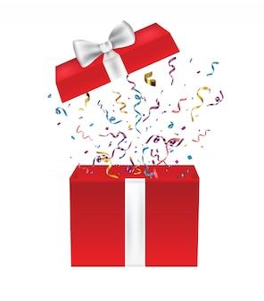 Geöffnete geschenkbox mit schleife und konfetti