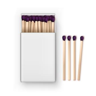 Geöffnete leere box mit lila streichhölzern draufsicht