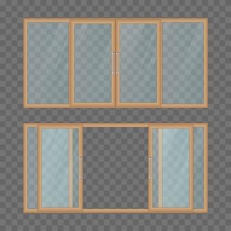 Geöffnete und geschlossene balkonschiebetür