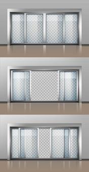 Geöffnete und geschlossene eingangstür isoliertes set