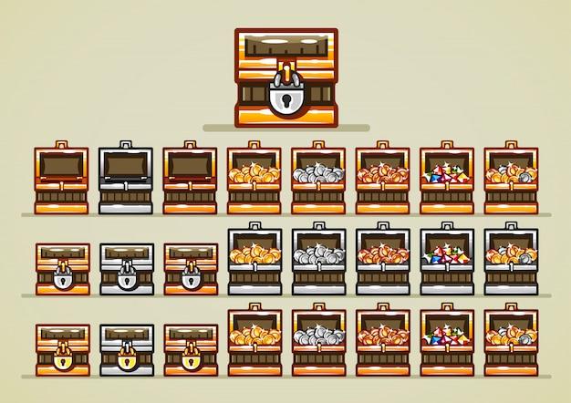 Geöffnete und geschlossene truhen mit münzen und edelsteinen für videospiele