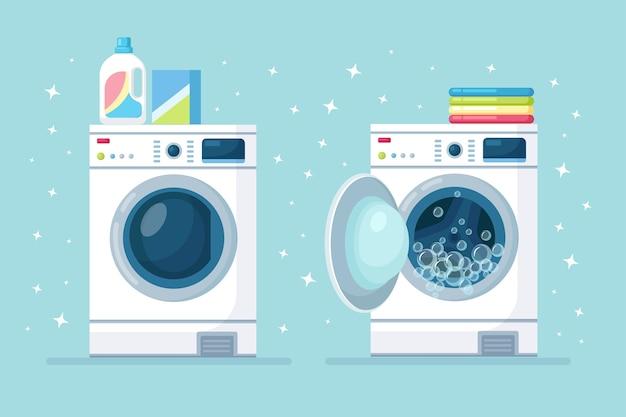 Geöffnete und geschlossene waschmaschine mit stapel trockener kleidung und waschmittel auf hintergrund isoliert. elektronische wäscherei für den haushalt. flaches design