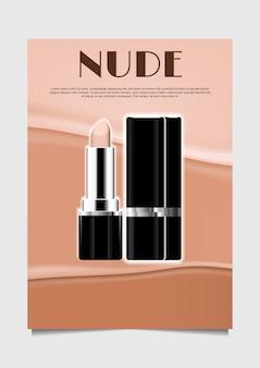 Geöffneter lippenstift auf nacktem hintergrund