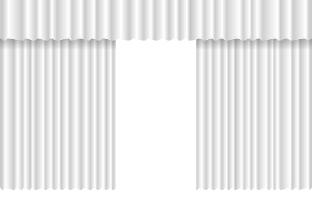 Geöffneter luxuriöser weißer gewellter vorhang bühnenhintergrund große offene theaterveranstaltung samtstoff-vorhangöffnung