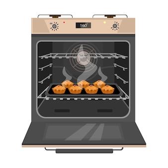 Geöffneter ofen mit frisch gebackenen kuchen in der pfanne