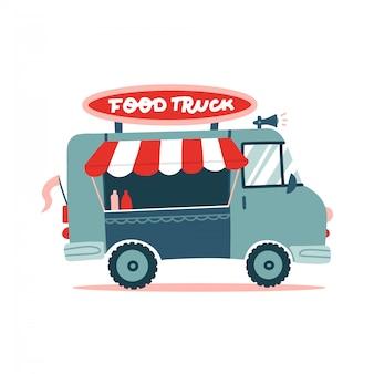 Geöffneter street food truck mit markise, gestreiftes zelt. flache illustration lokalisiert auf weißem hintergrund. beschriftungsschild. flache hand gezeichnete illustration.