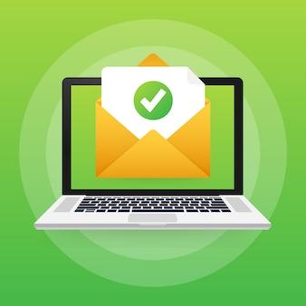 Geöffneter umschlag und dokument mit grünem häkchen. bestätigungs-e-mail. illustration.