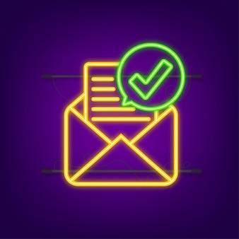 Geöffneter umschlag und dokument mit grünem häkchen. neon-symbol. bestätigungs-e-mail. vektor-illustration.