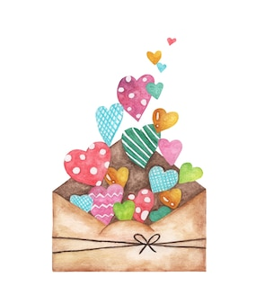 Geöffneter umschlag und viele süße herzen, liebesbrief herzen romantik. aquarellillustration.