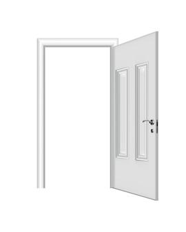 Geöffneter weißer eingang. realistische tür mit rahmen isoliert auf weißem hintergrund. weiße türschablone des sauberen designs. dekoratives hauselement.