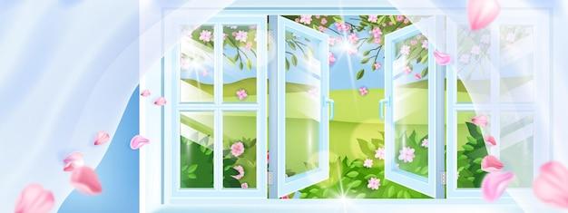 Geöffnetes plastikfederfenster