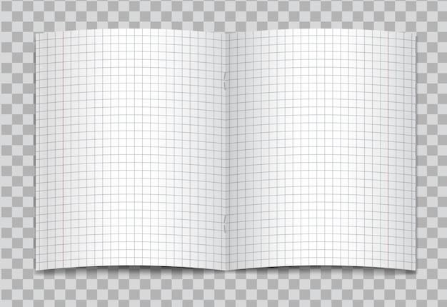 Geöffnetes realistisches quadratisches grundschulschreibheft mit roten rändern auf transparentem