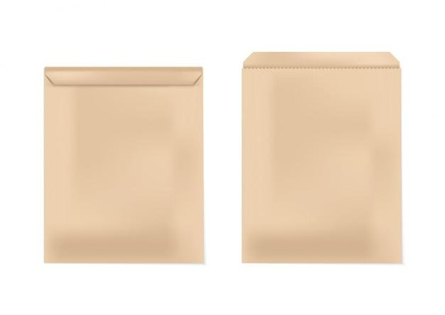 Geöffnetes und geschlossenes braunes umschlagpapier