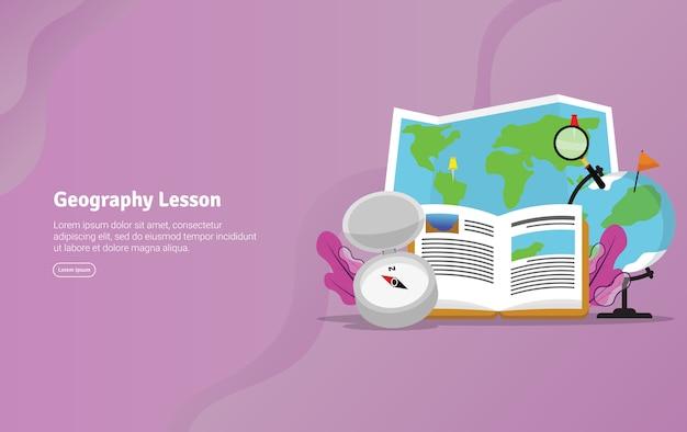 Geografie-unterrichts-konzept-pädagogische illustrations-fahne