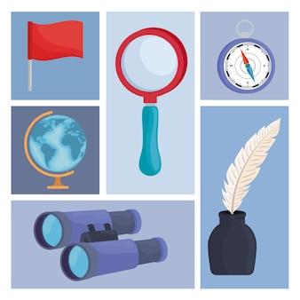 Geographie liefert sechs symbole