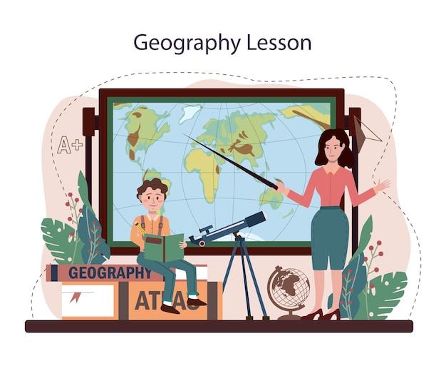 Geographie unterricht. die schüler lernen die länder und bewohner der erde kennen. kartierung und umweltforschung. studium der meteorologie und klimatologie. flache vektorillustration