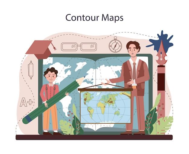 Geographie unterricht. konturkarte zeichnen. schüler lernen das land