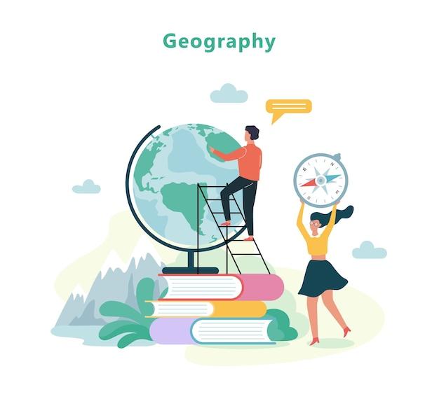 Geographiefach in der schule. idee von bildung und wissen