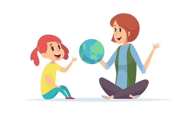 Geographieunterricht. mädchen, lehrer und globus, frau erzählen vom planeten. junge reisende oder entdecker neue länder, träume von reisevektorillustrationen. bildungsschule, geographie lernen und lehren