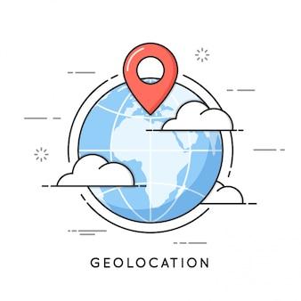 Geolocation dünne linie