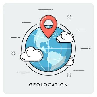 Geolocation und navigation. dünne linie .