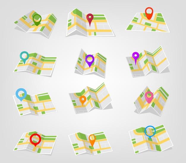 Geolokalisierung und standortschilder auf der karte