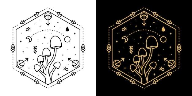 Geometric mushroom tattoo monoline design