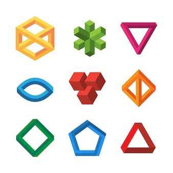 Geometrie der unendlichkeitsillusionen. unmögliche 3d-formen dreiecke schleife sechsecke escher vektorsammlung. illusionsschleife 3d, geometrischer unendlichkeitswürfel