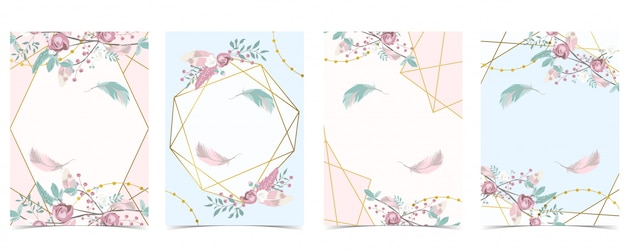 Geometrie pin gold hochzeit einladungskarte mit rose, blatt, band, kranz, feder und rahmen