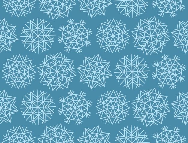 Geometrie-schneeflocke auf wintergrauhimmelhintergrund. nahtloses weihnachtsmuster