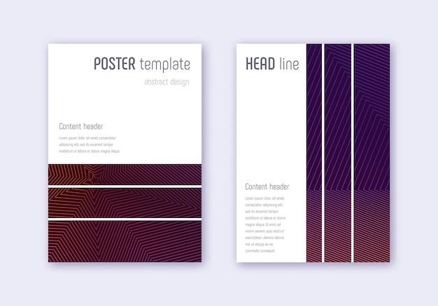Geometrische abdeckungsvorlage gesetzt. violette abstrakte linien auf dunklem hintergrund. mutiges cover-design. charmanter katalog, poster, buchvorlage usw.