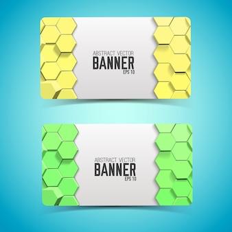 Geometrische abstrakte horizontale banner mit gelben und grünen sechsecken in mosaikart isolierte vektorillustration
