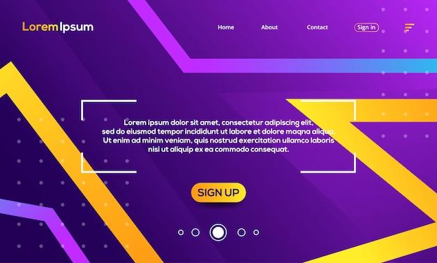 Geometrische abstrakte violette und gelbe landungsseitenschablone