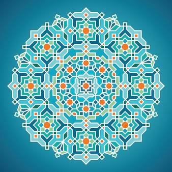 Geometrische arabische hintergrundverzierung des schönen runden vektors für den gruß der visitenkarteschablone