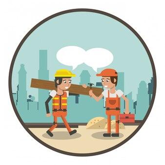 Geometrische Arbeiter Cartoons