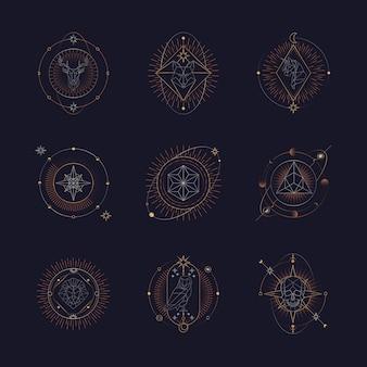 Geometrische astrologische symboltarotkarte