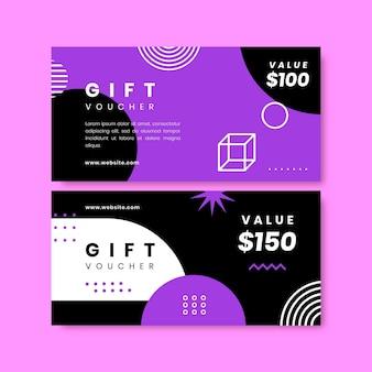 Geometrische banner für geschenkgutscheine im flachen design