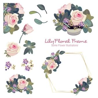 Geometrische blumenrahmen-verzierung der lilie