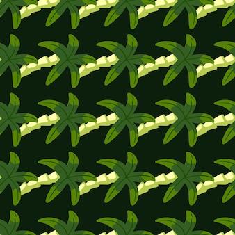 Geometrische botanik exotisches nahtloses muster mit kleiner einfacher palmenverzierung.