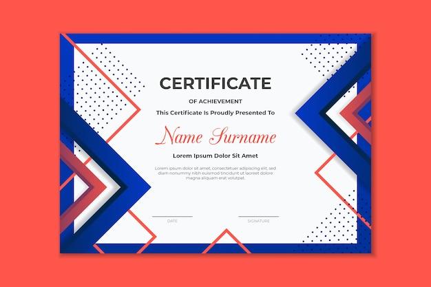 Geometrische bunte zertifikatvorlage