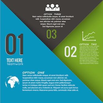 Geometrische business-infografik-vorlage mit drei optionen text