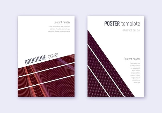 Geometrische cover-design-vorlagensatz. orange abstrakte linien auf weinrotem hintergrund. brillantes cover-design. neugieriger katalog, poster, buchvorlage etc.