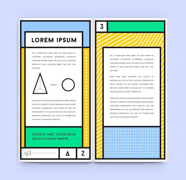 Geometrische dokumentvorlage im retro-stil