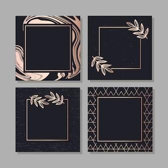 Geometrische elegante hintergrundabdeckungs-satzbeschaffenheit des flüssigen kunstvektors des goldenen rahmens